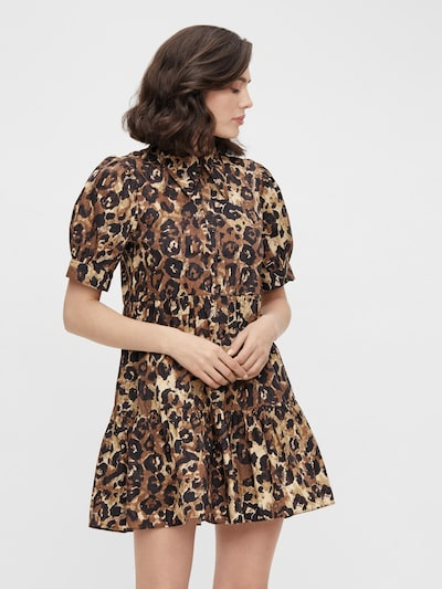 OBJECT Kleid 'Rosita' in braun / honig / schwarz, Modelansicht