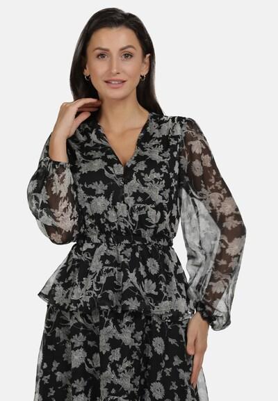 usha BLACK LABEL Bluse in grau / hellgrau / schwarz, Modelansicht