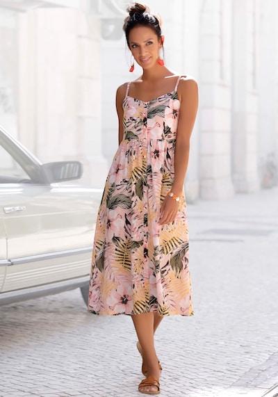 LASCANA Kleid in hellgrün / orange / hellpink, Modelansicht