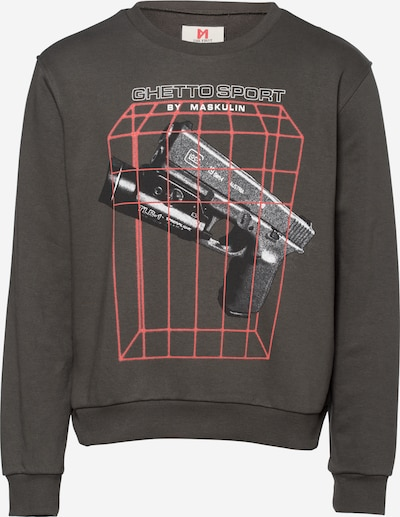 MASKULIN Sweat-shirt 'Laser Beams' en anthracite / melon / noir / blanc, Vue avec produit