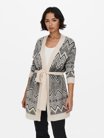 ONLY Knitted Coat in Black / Egg shell, View model