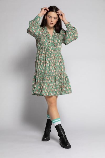Studio Untold Kleid in de kleur Beige / Smaragd, Modelweergave
