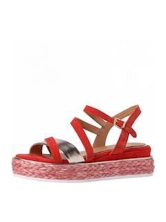 Výrazné červenostříbrné páskové sandály z kolekce GUIDO MARIA KRETSCHMER