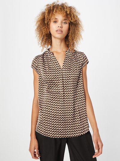COMMA Blouse in Brown / Black / Wool white, View model