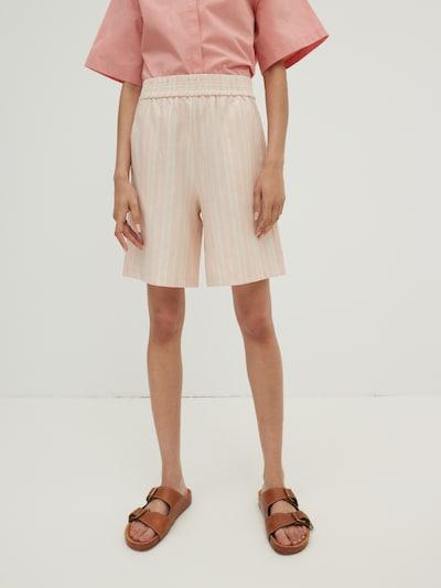 EDITED Pantalon 'Lexi' en crème / rose, Vue avec modèle