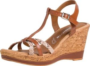 TAMARIS - Sandale cu baretă și talpă de plută culoare bej/coniac