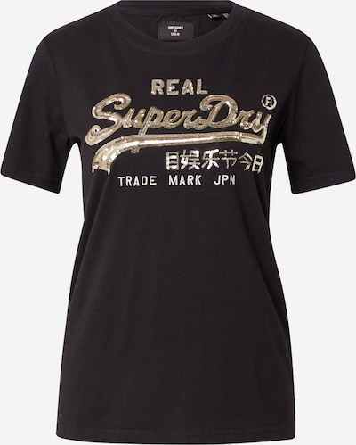 Superdry T-Shirt in gold / schwarz / weiß, Produktansicht
