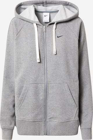NIKE Athletic Zip-Up Hoodie 'Get Fit' in Grey