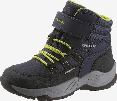 GEOX Snowboots in de kleur Donkerblauw / Neongeel / Zwart / Wit, Productweergave
