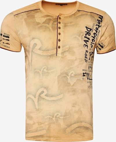 Rusty Neal T-Shirt mit lässigem All Over Print in beige: Frontalansicht