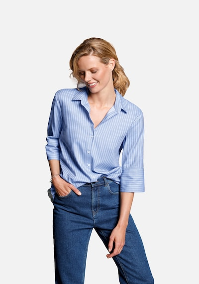 DAY.LIKE Kurzarmbluse Bluse mit 3/4-Arm in blau, Modelansicht