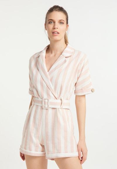 DreiMaster Vintage Jumpsuit in nude / weiß: Frontalansicht