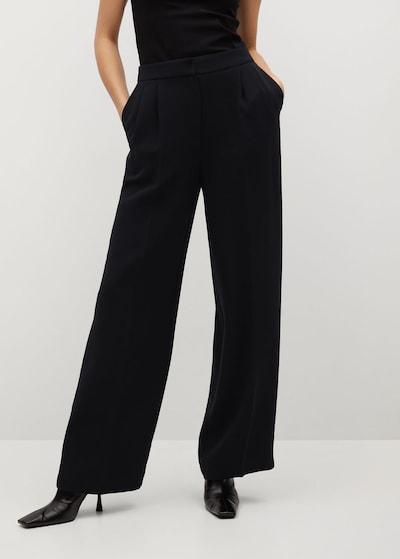 MANGO Bandplooibroek 'Ohio' in de kleur Zwart, Modelweergave