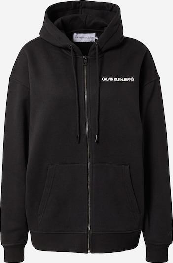 Calvin Klein Jeans Zip-Up Hoodie in Black / White, Item view