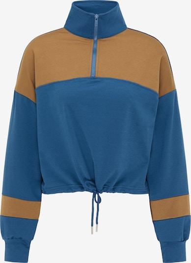 myMo ATHLSR Sweat de sport en bleu-gris / marron, Vue avec produit