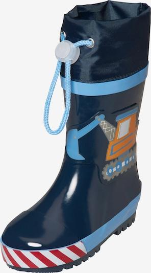 PLAYSHOES Botas de lluvia 'Baustelle' en marino / azul ahumado / azul claro / dorado / piedra, Vista del producto