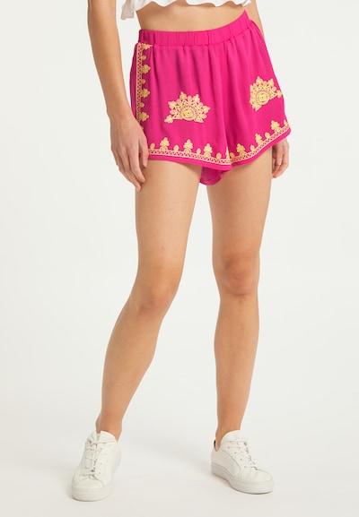 IZIA Kalhoty - žlutá / pink, Model/ka