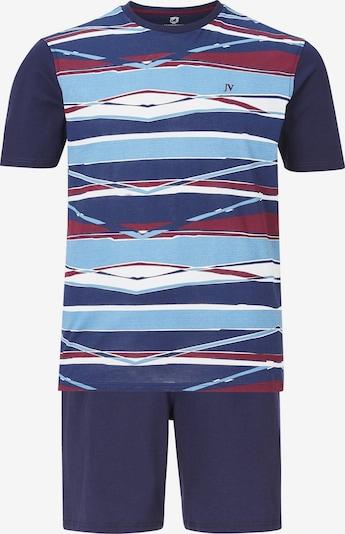 Jan Vanderstorm Pyjama kort 'Toke' in de kleur Marine / Lichtblauw / Wijnrood / Wit, Productweergave