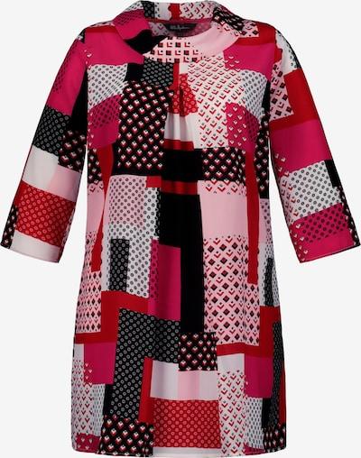 Ulla Popken Kokerjurk in de kleur Pink / Zwart / Wit, Productweergave