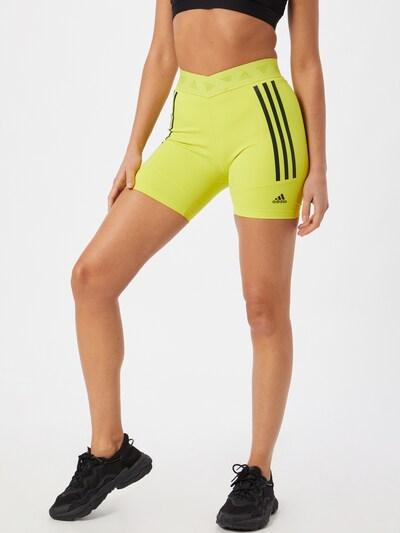 ADIDAS PERFORMANCE Sportske hlače 'Speed Creation' u neonsko žuta / crna, Prikaz modela
