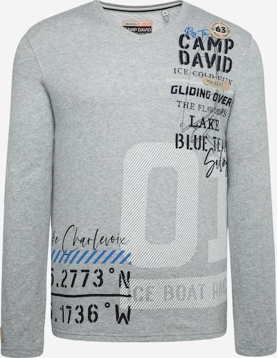 CAMP DAVID Sweatshirt mit V-Ausschnitt und Artwork in hellgrau, Produktansicht