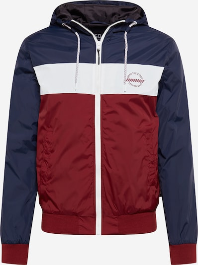 INDICODE JEANS Přechodná bunda 'Keyse' - námořnická modř / tmavě červená / bílá, Produkt