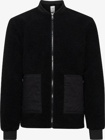 !Solid Fake Fur Jacke in Schwarz
