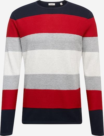 Megztinis iš EDC BY ESPRIT , spalva - tamsiai mėlyna / šviesiai pilka / raudona / balta: Vaizdas iš priekio