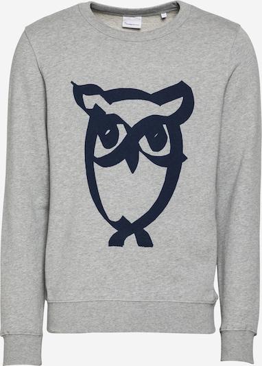 KnowledgeCotton Apparel Sweat-shirt 'ELM' en bleu marine / gris chiné, Vue avec produit