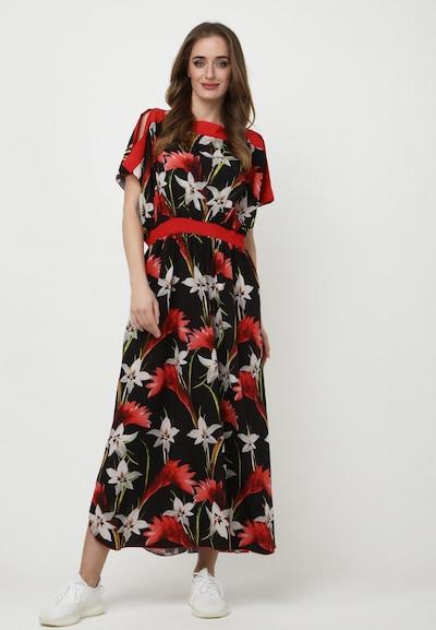 Madam-T Jurk 'TSURUMI' in de kleur Rood / Zwart / Wit, Modelweergave
