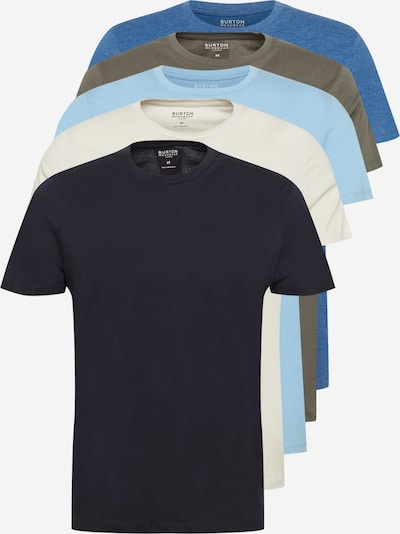 BURTON MENSWEAR LONDON Тениска в кремаво / небесносиньо / светлосиньо / маслина / черно, Преглед на продукта