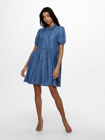 ONLY Puffärmel Jeanskleid in Blau