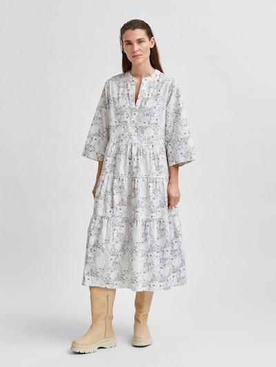 SELECTED FEMME Košilové šaty 'Rosella' - nebeská modř / hnědý melír / žlutá / khaki / přírodní bílá, Model/ka