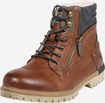 MUSTANG Boots med snörning i brun