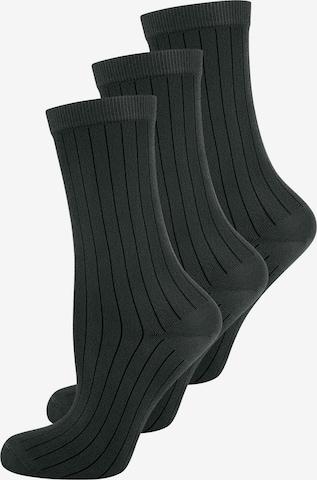 ELBEO Damensocken ' 3-Pack Fashion Ribs ' in Schwarz