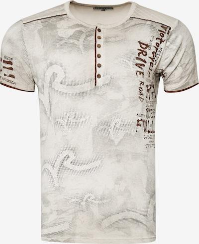 Rusty Neal T-Shirt mit lässigem Allover-Print in beige: Frontalansicht
