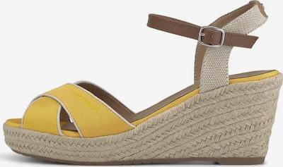 TOM TAILOR Sandalen met riem in de kleur Donkerbruin / Goudgeel, Productweergave