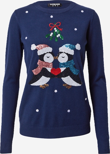 Fashion Union Sweater 'PENGUINS KISSING' in dark blue / mixed colours, Item view