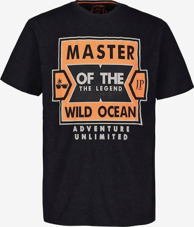 JP1880 T-Shirt in navy / pastellorange / schwarz / weiß: Frontalansicht
