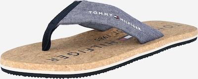 TOMMY HILFIGER Iešļūcenes ar pirkstu atdalītāju zils džinss / sarkans / balts, Preces skats