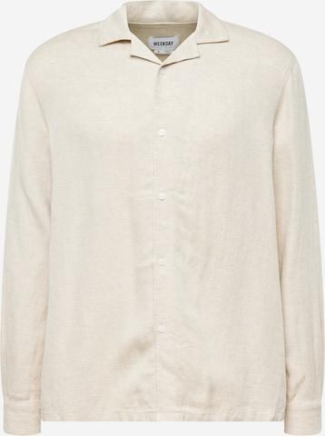 WEEKDAY Button Up Shirt 'Arra' in Beige