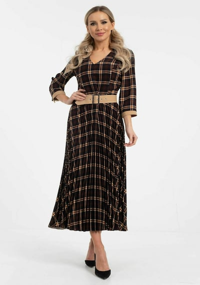 Wisell Kleid in dunkelblau / braun / dunkelgelb, Modelansicht