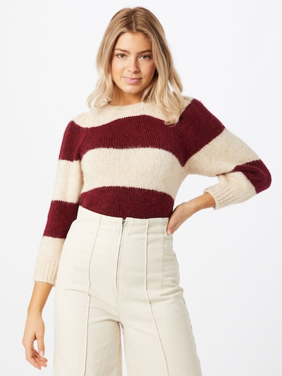 ONLY Pullover 'BENIN' in creme / rubinrot, Modelansicht