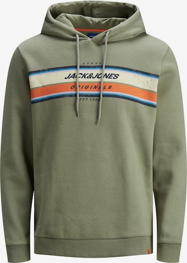 JACK & JONES Sweat-shirt 'JORTYLERS SWEAT HOOD STS' en vert / orange, Vue avec produit