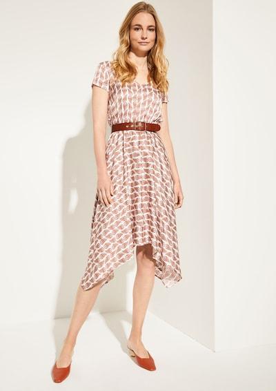 COMMA Kleid in beige / hellbraun / rot, Modelansicht