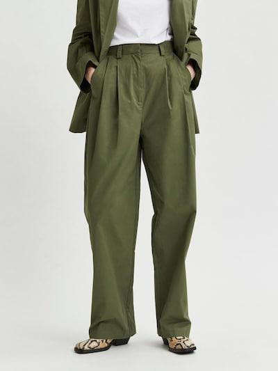 Klostuotos kelnės iš SELECTED FEMME , spalva - tamsiai žalia, Modelio vaizdas
