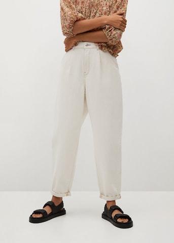 MANGO Bandplooi jeans 'Michelle' in Wit