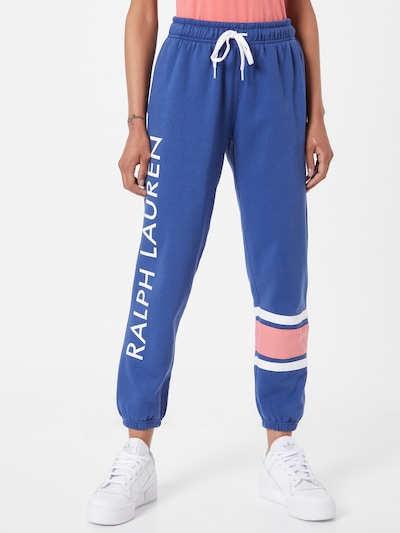 Pantaloni POLO RALPH LAUREN pe albastru / roz / alb, Vizualizare model