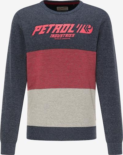 Petrol Industries Sweatshirt in de kleur Blauw gemêleerd / Lichtgrijs / Rood gemêleerd, Productweergave