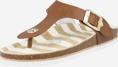TOM TAILOR T-bar sandals in Camel / White, Item view